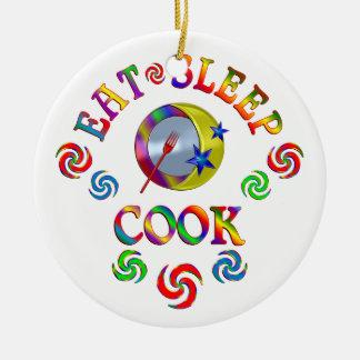 Ornement Rond En Céramique Mangez le cuisinier de sommeil