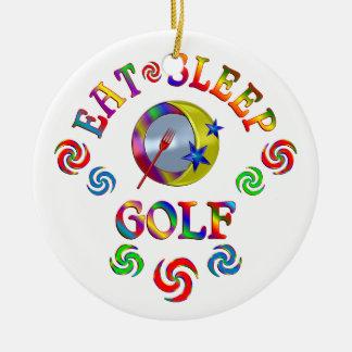 Ornement Rond En Céramique Mangez le golf de sommeil