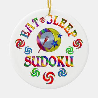 Ornement Rond En Céramique Mangez le sommeil Sudoku