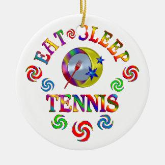 Ornement Rond En Céramique Mangez le tennis de sommeil