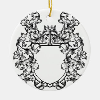 Ornement Rond En Céramique Manteau héraldique de crête de chevalier d'emblème