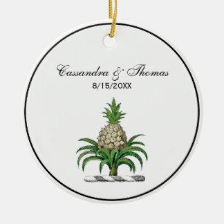 Ornement Rond En Céramique Manteau héraldique de très bon goût d'ananas de