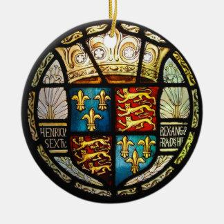 Ornement Rond En Céramique Manteau royal de Tudor de verre souillé de Henry