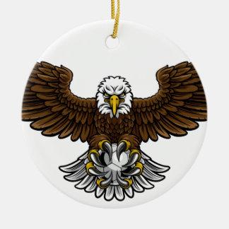 Ornement Rond En Céramique Mascotte du football du football d'Eagle