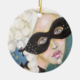 Ornement Rond En Céramique Masque artistique lunatique de Marie Antionette de