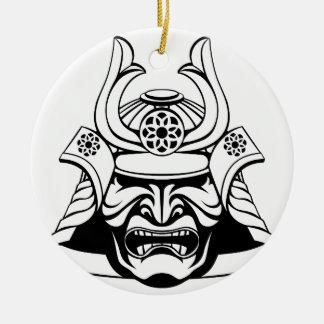 Ornement Rond En Céramique Masque samouraï stylisé