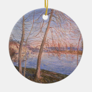 Ornement Rond En Céramique Matin d'hiver d'Alfred Sisley |
