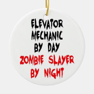 Ornement Rond En Céramique Mécanicien d'ascenseur de tueur de zombi