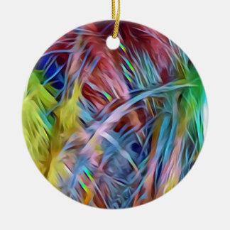 Ornement Rond En Céramique Mèches d'arc-en-ciel d'art abstrait de cheveux