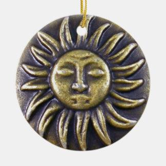 Ornement Rond En Céramique Médaillon de Sun
