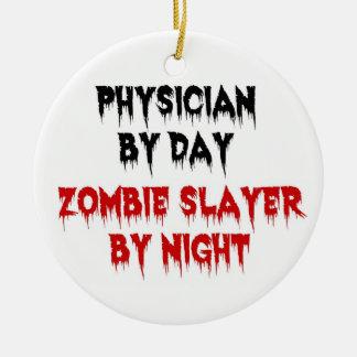 Ornement Rond En Céramique Médecin par le tueur de zombi de jour par nuit