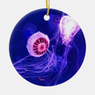 Ornement Rond En Céramique Méduses lumineuses au néon