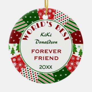 Ornement Rond En Céramique MEILLEUR AMI ou cadeau de Noël de toute personne