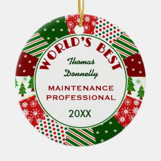 Ornement Rond En Céramique MEILLEUR tout de profession de Noël cadeau PRO ou