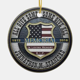 Ornement Rond En Céramique Mémorial de policier