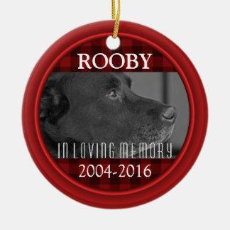 Ornement Rond En Céramique Mémorial nommé de chien de l'animal familier | de