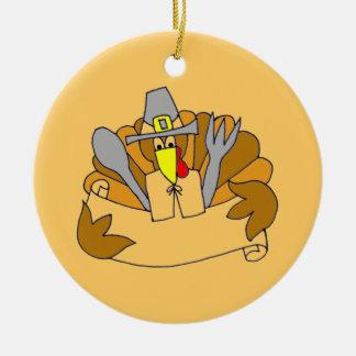 Ornement Rond En Céramique Menu pour Thanksgiving -