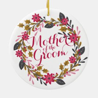 Ornement Rond En Céramique Mère de l'ornement de mariage de Noël de marié