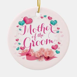 Ornement Rond En Céramique Mère de l'ornement des coeurs | de sucrerie de