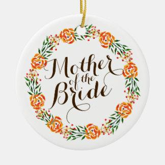 Ornement Rond En Céramique Mère de l'ornement élégant du mariage | de jeune