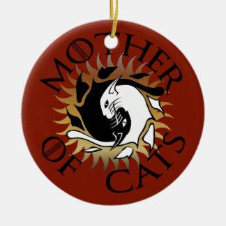 Ornement Rond En Céramique Mère d'ornement en céramique de chats