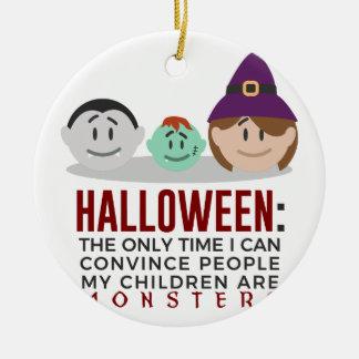 Ornement Rond En Céramique Mes enfants sont conception de Halloween de