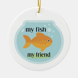 Ornement Rond En Céramique Mes poissons mon ami
