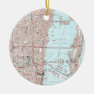 Ornement Rond En Céramique Miami la Floride Map (1988)