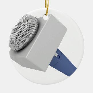 Ornement Rond En Céramique Microphone de journaliste