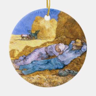 Ornement Rond En Céramique Midi de Vincent van Gogh |, la sièste, après