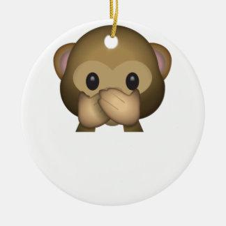 Ornement Rond En Céramique Mignon ne parlez aucun singe mauvais Emoji