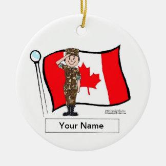 Ornement Rond En Céramique Militaires canadiens - femelle
