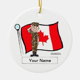 Ornement Rond En Céramique Militaires canadiens - mâle