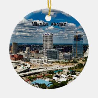 Ornement Rond En Céramique Milwaukee, paysage urbain du Wisconsin