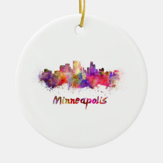 Ornement Rond En Céramique Minneapolis skyline in watercolor