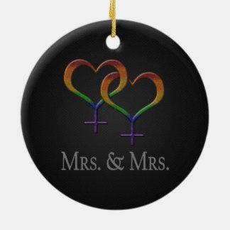Ornement Rond En Céramique Mme et Mme Lesbian Pride