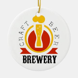 Ornement Rond En Céramique Modèle de conception de logo de brasserie de bière