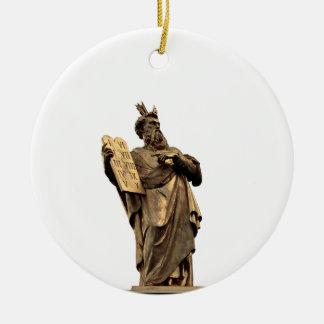 Ornement Rond En Céramique Moïse et dix commandements d'or