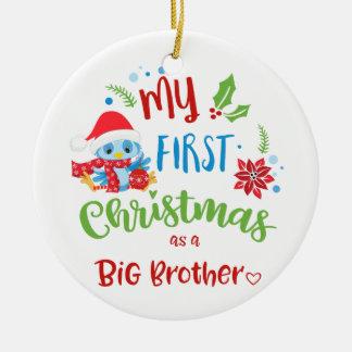Ornement Rond En Céramique Mon premier Noël comme photo/année de frère