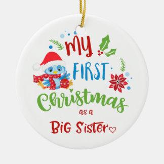 Ornement Rond En Céramique Mon premier Noël comme photo/année de grande soeur