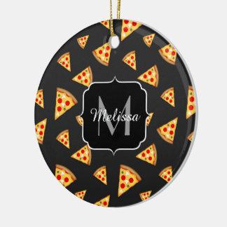 Ornement Rond En Céramique Monogramme de motif de tranches de pizza de cool