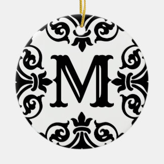 Ornement Rond En Céramique Monogramme fleuri élégant