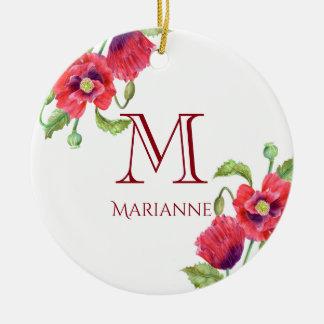 Ornement Rond En Céramique Monogramme floral d'art de pavots rouges