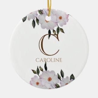 Ornement Rond En Céramique Monogramme floral de ballerine rose de roses