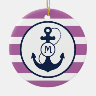 Ornement Rond En Céramique Monogramme nautique pourpre d'ancre