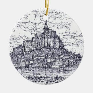 Ornement Rond En Céramique mont saint-Michel