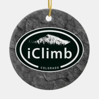 Ornement Rond En Céramique Montagne s'élevante personnalisée du Colorado