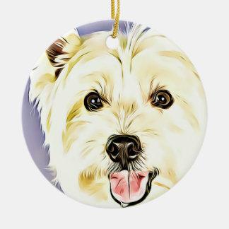 Ornement Rond En Céramique Montagne Terrier blanc occidentale, Westie, chien,