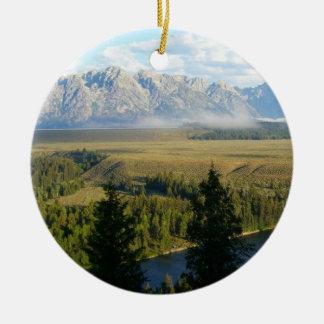 Ornement Rond En Céramique Montagnes et rivière de Jackson Hole