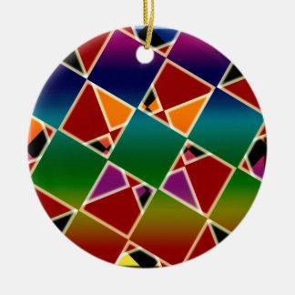 Ornement Rond En Céramique Motif carré coloré carrelé